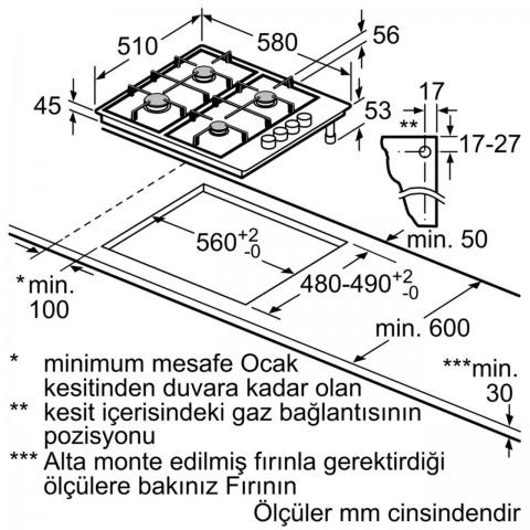 Siemens EB6C5PB80O 60 cm Inox Ocak